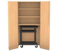 Flexeo Garagenschrank, 3 Fachböden 1 Vorbereitungswagen schwarz, HxB: 190 x 94,4 cm