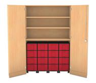 Flexeo Garagenschrank, 3 Fachböden 4 Rollcontainer mit 16 großen Boxen