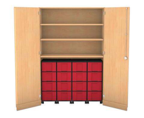 Flexeo Garagenschrank mit 3 Faechern 4 Rollcontainern und 16 Boxen