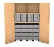 Flexeo Garagenschrank, 4 Fachböden, mit Mittelwand 4 Rollcontainer mit 16 großen Boxen, oben 8 große