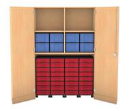 Flexeo Garagenschrank, 4 Fachböden, mit Mittelwand 4 Rollcontainer mit 32 kleinen Boxen, oben 8 große