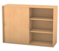 Flexeo Aufsatzschrank, Schiebetüren, 4 Fachböden mit Mittelwand, HxB: 99,1 x 126,4 cm