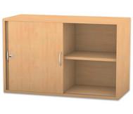 Flexeo Aufsatzschrank, Schiebetüren, 2 Fachböden mit Mittelwand, HxB: 60,6 x 94,4 cm