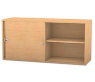 Flexeo Aufsatzschrank, Schiebetüren, 2 Fachböden mit Mittelwand, HxB: 60,6 x 126,4 cm