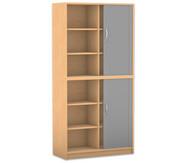 Flexeo Rollladen-Schrank, 8 Fachböden, 2 Türen mit Mittelwand, HxB: 190 x 94,4 cm