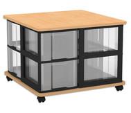 Fahrbares Flexeo Containersystem mit Ablage und 8 großen Boxen