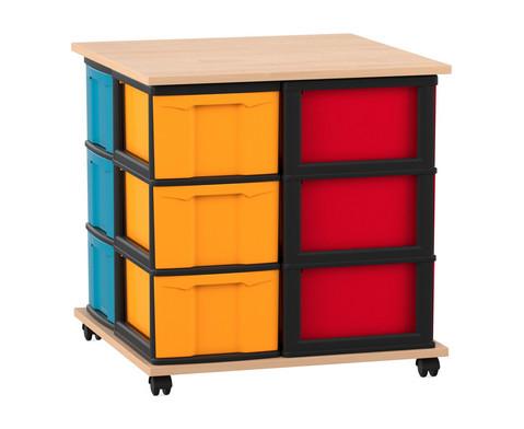 Flexeo Containersystem 12 grosse Boxen fahrbar mit Ablage