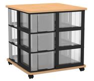 Flexeo Containersystem mit Ablage, 12 große  Boxen fahrbar, HxBxT: 72,8 x 71 x 71 cm