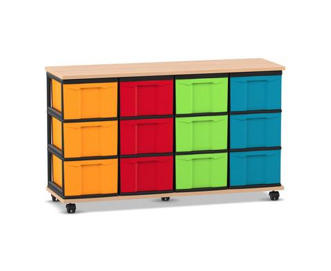 Fahrbares Flexeo Containersystem mit Ablage und 12 grossen Boxen