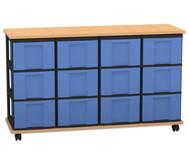 Flexeo Containersystem mit Ablage, 12 große  Boxen 4 Reihen, fahrbar, HxBxT: 72,8 x 120,5 x 38,5 cm