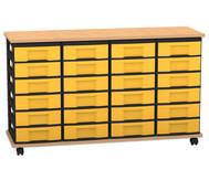 Flexeo Containersystem mit Ablage, 24 kleine Boxen 4 Reihen, fahrbar, HxBxT: 72,8 x 120,5 x 38,5 cm