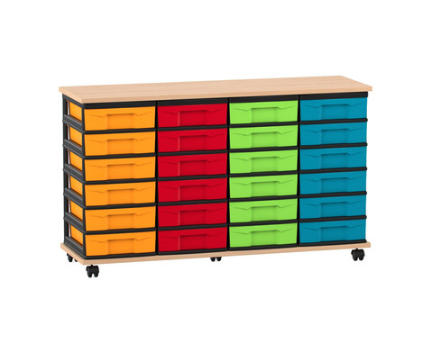 Flexeo Fahrbares Containersystem mit Ablage und 24 kleinen Boxen