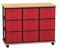 Flexeo Containersystem mit Ablage, 9 große Boxen 3 Reihen, fahrbar, HxBxT: 72,8 x 90,5 x 38,5 cm