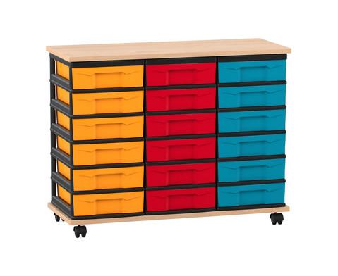 Flexeo Fahrbares Containersystem mit Ablage und 18 kleinen Boxen