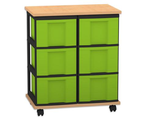 Fahrbares Flexeo Containersystem mit Ablage und 6 grossen Boxen