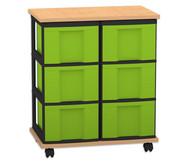 Flexeo Containersystem mit Ablage, 6 große Boxen 2 Reihen, fahrbar, HxBxT: 73 x 60 x 38 cm