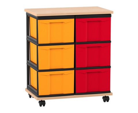 Flexeo Fahrbares Containersystem mit Ablage und 6 grossen Boxen