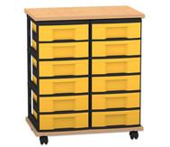 Flexeo Containersystem mit Ablage, 12 kleine Boxen 2 Reihen, fahrbar, HxBxT: 73 x 60 x 38 cm