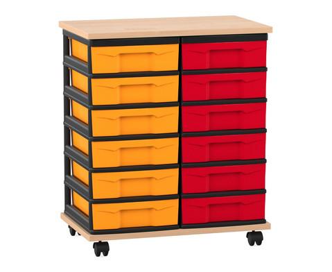 Flexeo Fahrbares Containersystem mit Ablage und 12 kleinen Boxen