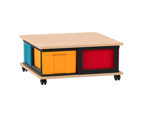 Fahrbares Flexeo Containersystem mit Ablage und 4 grossen Boxen