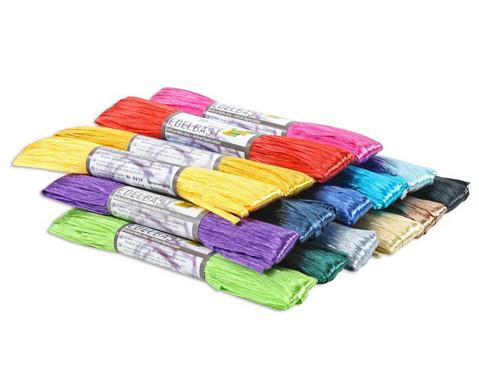 15 Buendel Kunstbast farbig sortiert