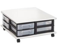 Fahrbares Flexeo Containersystem mit Ablage und 8 kleinen Boxen