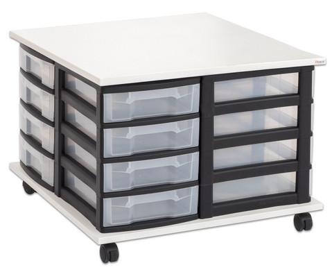 Fahrbares Flexeo Containersystem mit Ablage und 16 kleinen Boxen-1