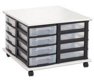 Fahrbares Flexeo Containersystem mit Ablage und 16 kleinen Boxen