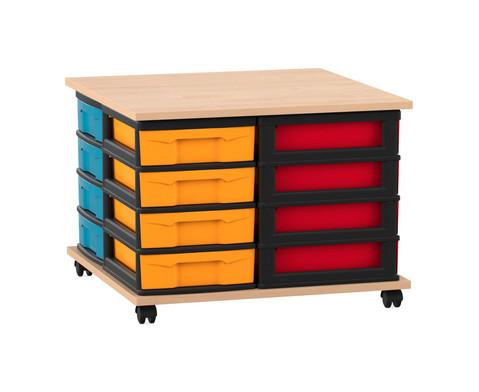 Flexeo Fahrbares Containersystem mit Ablage und 16 kleinen Boxen