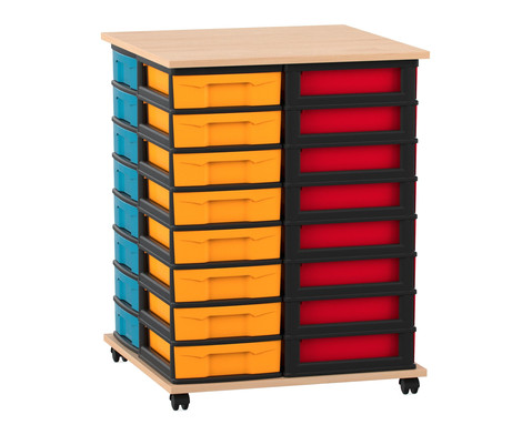 Flexeo Fahrbares Containersystem mit Ablage und 32 kleinen Boxen
