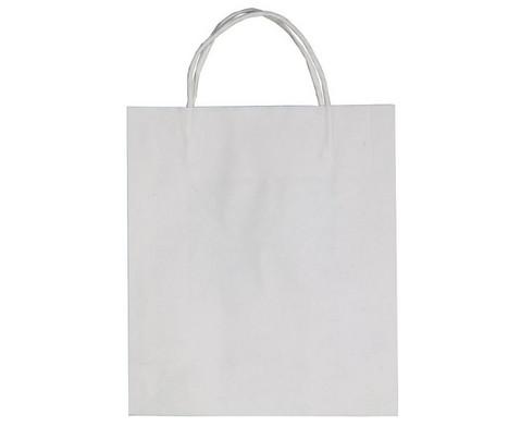 Papiertaschen mit gedrehtem Papiergriff weiss 20 Stueck