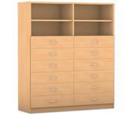 Flexeo mittelhoher Schrank, 2 Fachböden mit Mittelwand, 12 Schubladen