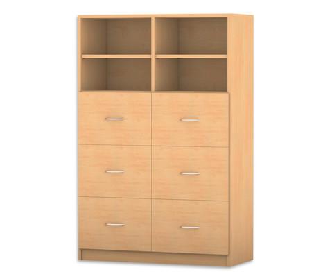 Flexeo mittelhoher Schrank mit 6 grossen Holzschubladen