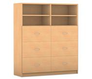 Flexeo mittelhoher Schrank mit 6 großen Schubladen und Mittelwand