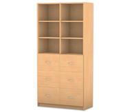 Flexeo Hochschrank mit Sockel, 6 große Holzschubladen, 4 Fachböden, mit Mittelwand, HxB: 190 x 94,4 cm