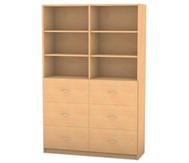 Flexeo Hochschrank mit Sockel, 6 große Holzschubladen 4 Fachböden, mit Mittelwand, HxB: 190 x 126,4 cm
