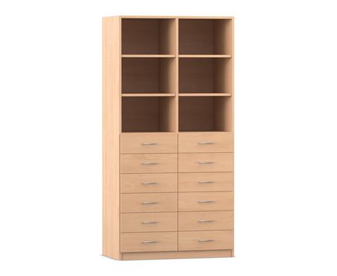Flexeo Hochschrank mit 6 Faechern und 12 Holzschubladen