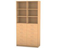 Flexeo Hochschrank mit 6 Fächern und 12 Holzschubladen