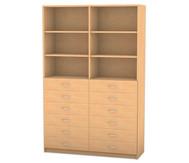Flexeo Hochschrank mit 6 Fächern und 12 breiten Holzschubladen
