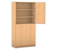 Flexeo Hochschrank mit 3 Fächern, 12 Holzschubladen und Türen