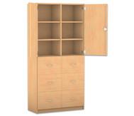 Flexeo Hochschrank mit 6 Fächern, 6 großen Schubladen und Türen
