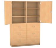 Flexeo Hochschrank mit Sockel, 6 große Holzschubladen, mit Mittelwand, oben 2 Türen, HxB: 190 x 126,4 cm