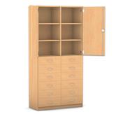 Flexeo Hochschrank mit 6 Fächern, 12 Holzschubladen und Türen