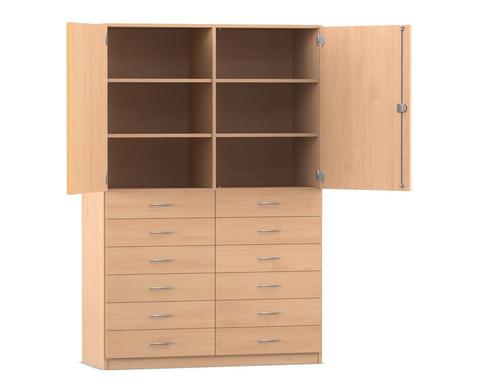 Flexeo Hochschrank mit 6 Faechern 12 breiten Holzschubladen und Tueren