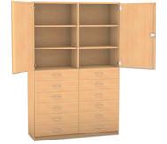 Flexeo Hochschrank mit Sockel,12 kleine Schubladen, mit Mittelwand, oben 2 Türen, HxB: 190 x 126,4 cm