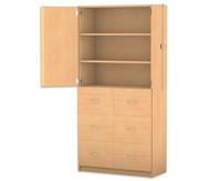 Flexeo Hochschrank, 6 Hängeregister 2 Fachböden, oben 2 Türen, HxB: 190 x 94,4 cm