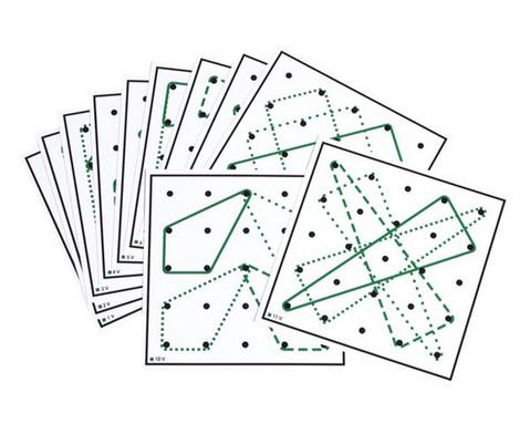 Arbeitskarten transp Geometrie-Board mit 2 und mehr Gummibaendern