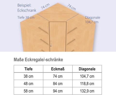 Flexeo Eckschrank 1 Drehtuer 4 Fachboeden Hoehe 190 cm-3