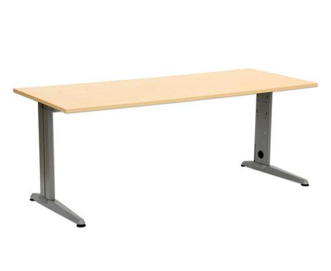 L-Fuss Schreibtisch Hoehe 72 cm fest Platte 140 x 80 cm