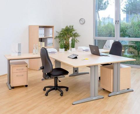 L-Fuss Schreibtisch Hoehe 72-82 cm verstellbar Platte 140 x 80 cm-4